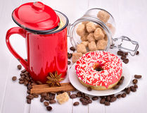 Tasty donut with a cup of coffee Royalty Free Stock Image