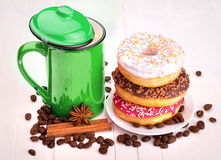 Tasty donut with a cup of coffee Royalty Free Stock Images