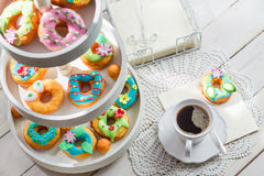 Tasty donuts with colorful decoration Stock Images