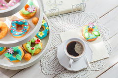 Tasty donuts with colorful decoration Stock Photos