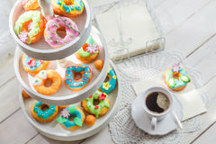 Tasty donuts with colorful decoration Stock Photo