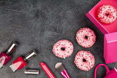 Tasty donuts on dark background Stock Photography