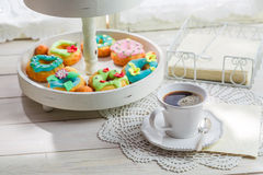 Tasty donuts served with coffee Stock Images