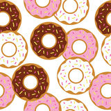 Tasty donuts vector seamless pattern, template Royalty Free Stock Photos