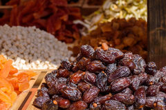 Tasty dried dates. Tasty and fresh, dried dates, on the market Royalty Free Stock Photos