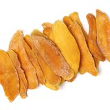 Tasty dried mango slices detailed. Close up  on white background Stock Photos