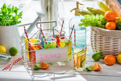Tasty drink with citrus and sugar Royalty Free Stock Photos