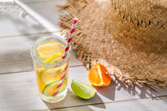 Tasty drink with lemon and orange Royalty Free Stock Image