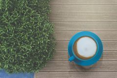 Tasty drinking, blue cup of cappuccino coffee, flower pattern milk forth on vintage wooden table and green bush, top view photo stock photo