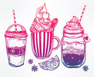 Tasty drinks set in vintage style. Royalty Free Stock Photography