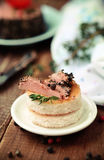 Tasty duck pate appetizer with fresh herbs Royalty Free Stock Photography