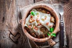 Tasty dumplings with wild mushrroms and onion Stock Images
