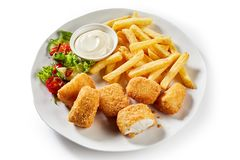 Tasty Dutch kibbeling, bite sized portions of fish. Tasty Dutch kibbeling or bite sized portions of deep fried breaded codfish served with mayonnaise, french Royalty Free Stock Images