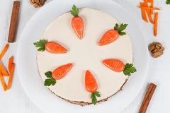 Tasty easter cake with little carrots and cinnamon Stock Photo