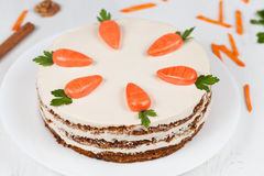 Tasty easter sponge cake with cream and little stock image