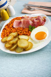 Tasty English Breakfast with Fried Potatoes Stock Image