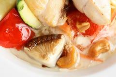 Tasty european vegitable salad with mushrooms Stock Photos