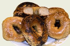 Delicious bagels with poppy seeds and sesame seeds stock photography