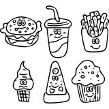 Tasty fast food kids coloring page Royalty Free Stock Photography