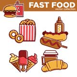 Tasty fast food vector collection with fat dishes Stock Photo