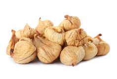 Tasty figs on white background. Dried fruit. As healthy food stock photos
