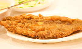 Tasty fish fry on  the white plate Stock Photography