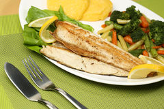 Tasty fish with lemon and vegetables Stock Photos