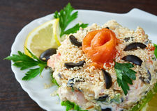 Tasty fish salad decorated with sesame seeds Stock Image