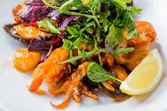 Tasty fish salad with shrimps, baby octopus, herbs, oyster, lemon, lettuce and sauce. Close up image Stock Photo