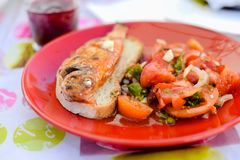 Tasty fish sandwich and vegetable salad served on Royalty Free Stock Image