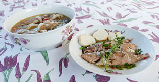 Tasty fish soup. Fish soup served in a ceramic plate Stock Photo