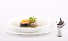 Tasty fish soup with salmon Stock Image