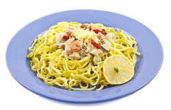 Tasty fish tagliatelle Royalty Free Stock Photos