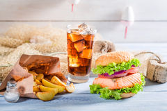 Tasty fishburger with salmon made by fisherman Stock Image