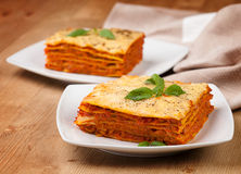 Tasty flavorful lasagna on a plate Stock Image