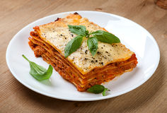 Tasty flavorful lasagna on a plate Stock Photo