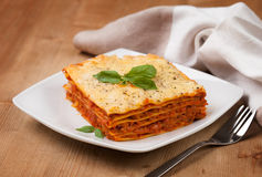 Tasty flavorful lasagna on a plate Royalty Free Stock Photography