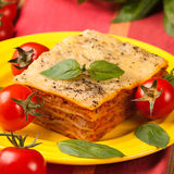 Tasty flavorful lasagna on a plate and ingredients Royalty Free Stock Image