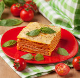 Tasty flavorful lasagna on a plate and ingredients Stock Photo