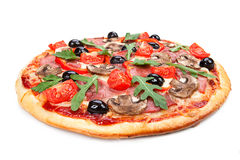 Tasty, flavorful pizza isolated on white background Royalty Free Stock Photo