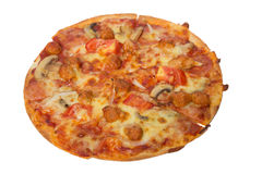 Tasty flavorful pizza isolated on white. Background Royalty Free Stock Photography
