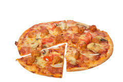 Tasty flavorful pizza isolated on white. Background Stock Image