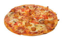 Tasty flavorful pizza isolated on white. Background Stock Images