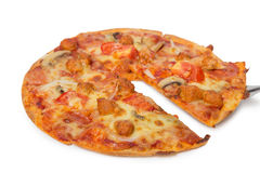 Tasty flavorful pizza on white. Background royalty free stock image