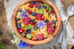 Tasty flowers and fruits with cornflakes Royalty Free Stock Images