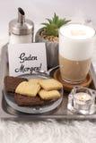 Tasty foamy coffee in a glass. Restaurant, breakfast Royalty Free Stock Image
