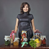About tasty food. The young woman tells preparation tasty health peeping meal Royalty Free Stock Photo