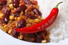 Tasty food: chili con carne and rice macro Stock Photos