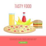 Tasty Food Concept Web Banner Illustration. Stock Photo