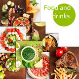 Tasty food and drinks collage Royalty Free Stock Images